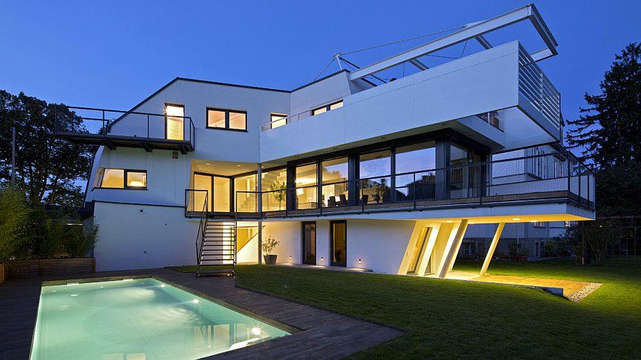Architektenhaus mit pool in nieder sterreich hessl for Architektenhaus flachdach
