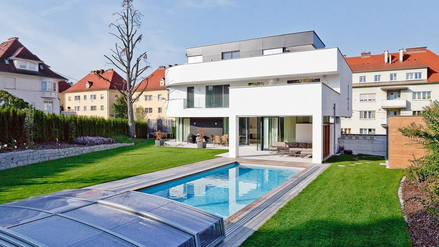 Moderne architektenh user mit pool inspiration ber haus for Modernes haus zeichnung